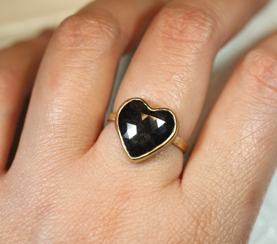 First Love, Last Love - Black Diamond Cocktail Ring In 14K Gold