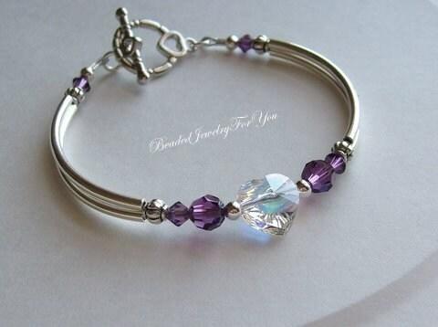 Amethyst Aurora Borealis Swarovski Cyrstal AB Heart Bangle Bracelet