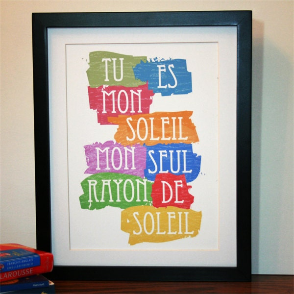 You Are My Sunshine French 9x12 Typographic Print