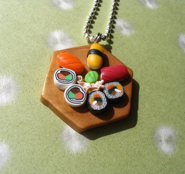 Sushi platter necklace on ball chain, in Faux Wood : Asian iCandy Store, Unique Asian Arts and Gifts From Independent Artists :  necklace chain sushi accessories