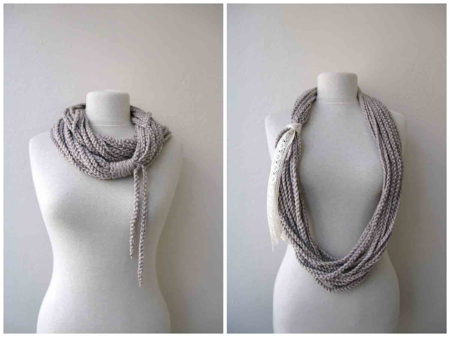 Coffee Milk Scarf Lariat Cowl Necklace - Fall Fashion Winter accessories Ready to Ship Designer Fashion SALE