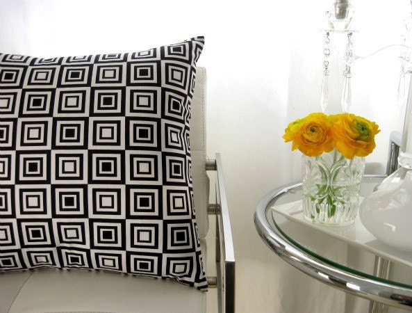 Designer cubism black and white pillow cover 17inch