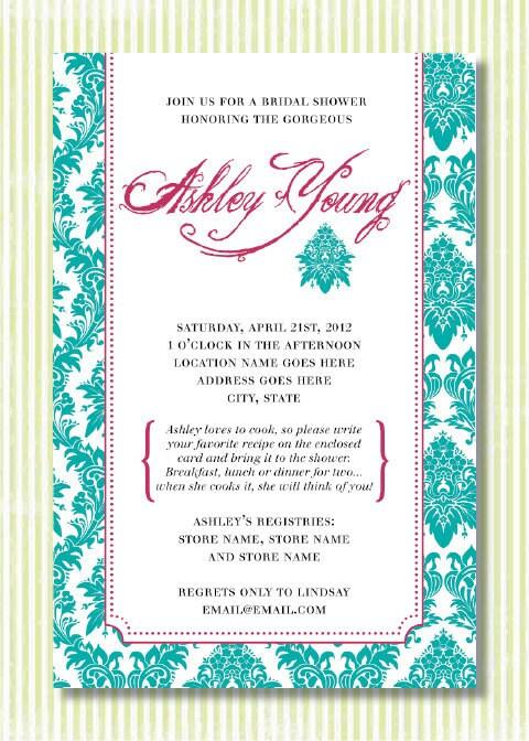 Custom bridal shower invitation Damask theme Teal Pink White