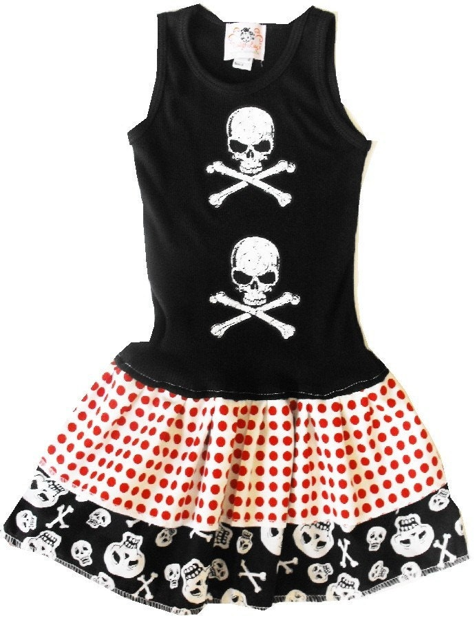 TOSSED SKULL DRESS - Size 3 mos up to womens xxl - TANK OR SHORT SLEEVES