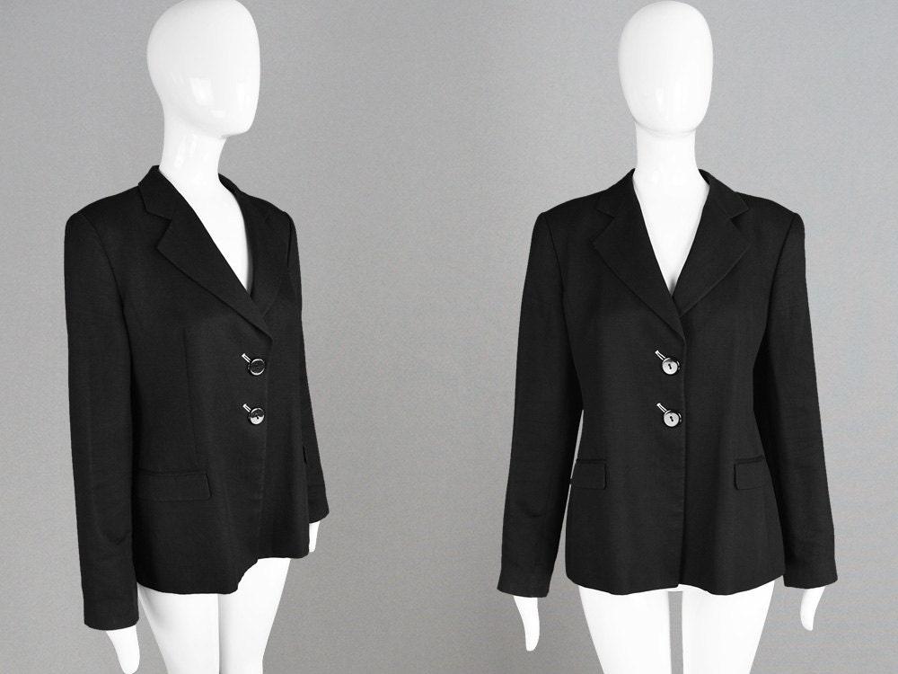 Vintage 90s EMPORIO ARMANI Linen and Silk Black Womens Blazer Tailored Jacket Giorgio Armani Made in Italy Chic Simple Blazer Minimalist