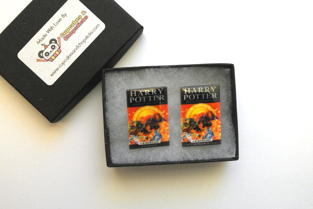 Harry Potter Book Cover Earrings or Cufflinks