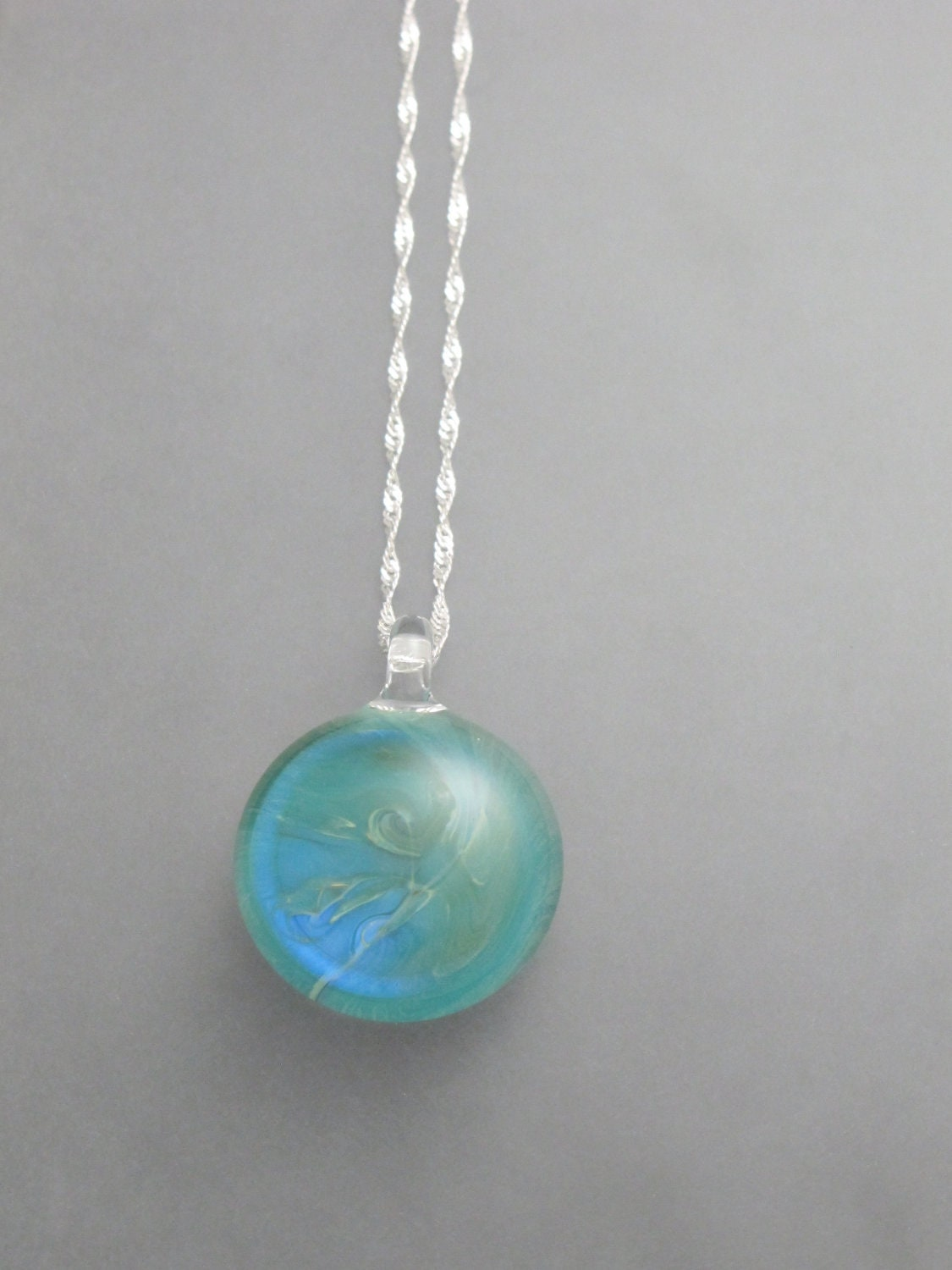 Braden Hammond Glass - Stormy Necklace in Silver Aqua