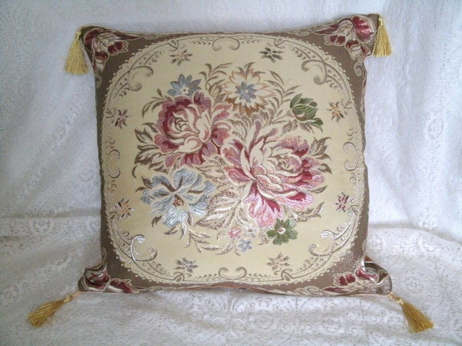 Victorian Tapestry Pillows : Decorative Pillow Cover flowers victorian by Sheekydoodle on Etsy