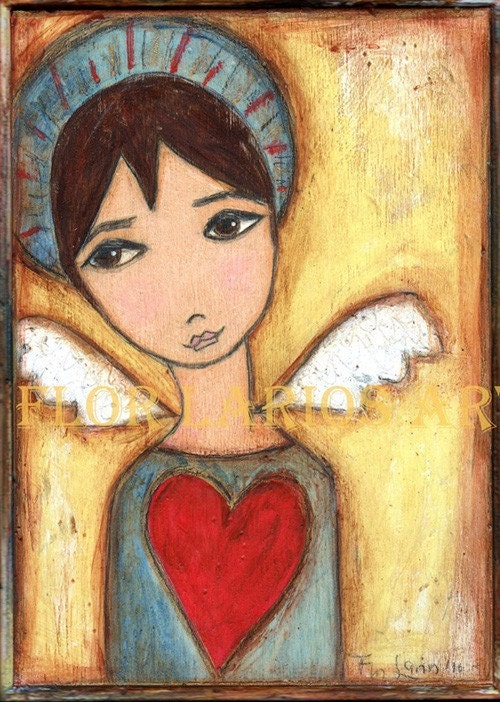 ANGEL BOY-  PRINT from Painting by FLOR LARIOS (5 x 7 INCHES)