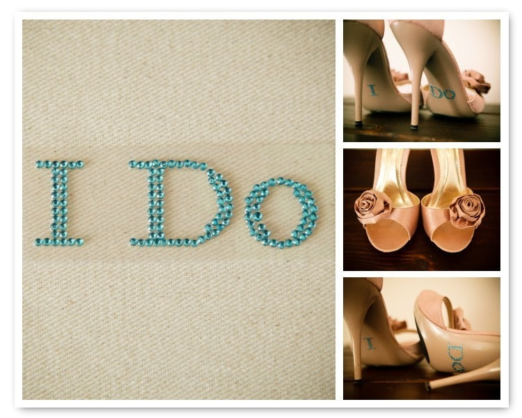 I Do BABY BLUE Shoe Rhinestone Applique and Keepsake Card with Instructions