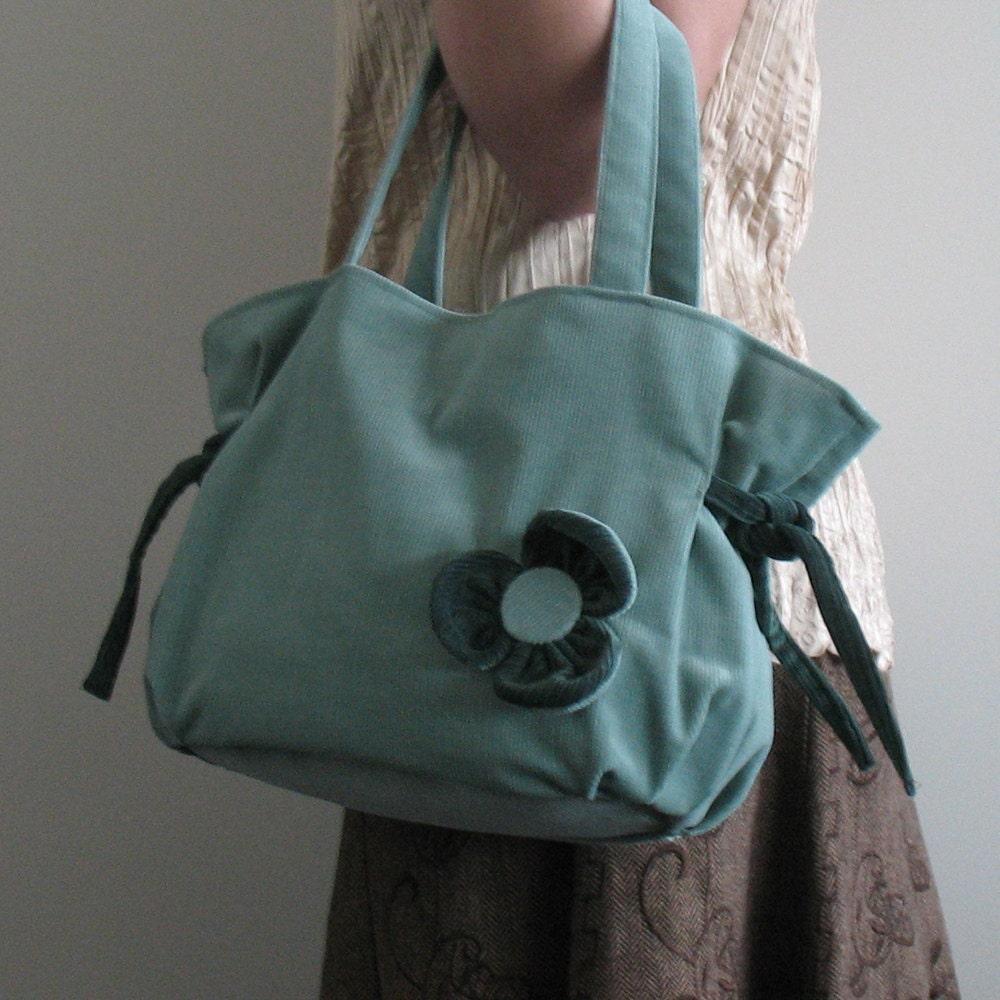 Corduroy purse in teal color - Vegan corduroy handbag in pale bluish green - sisoi handbag - Sisoibags