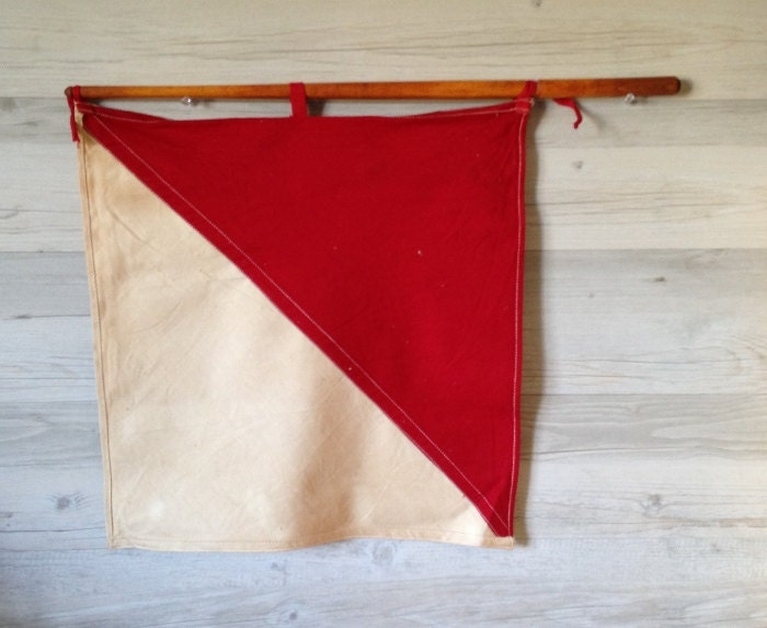 Vintage U.S Army Flag Kit Signal Corps Canvas Bag 2 Red and White Flags on Sticks