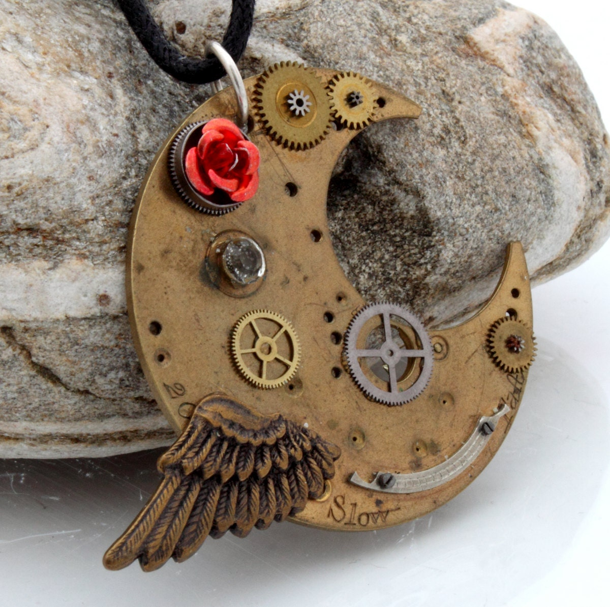 Steampunk Crescent Moon pendant with antique watch parts red rose cabochon and wing charm Steampunk Jewelry