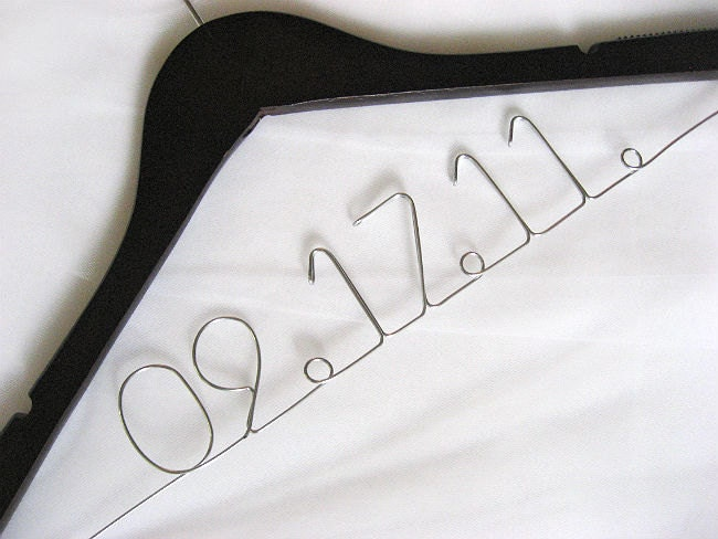Personalized Wedding Date Hanger - SHIPPED in 48 HOURS - Bridal Hanger, Wire Hanger, Wedding Name Hanger