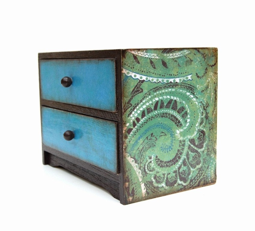 Blue and Green Paisley Altered Wooden 2 Drawer Trinket or Jewelry Dresser Box