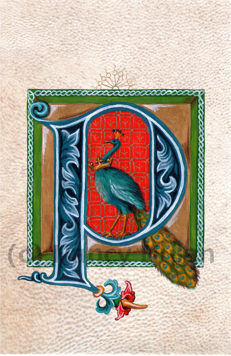 Medieval Illuminated Letter P, Alphabet Letter P, Painted Initial P ...