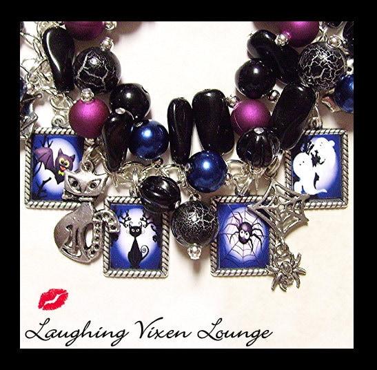 Halloween Charm Bracelet - Halloween At Midnight - Halloween Jewelry - Halloween Bracelet