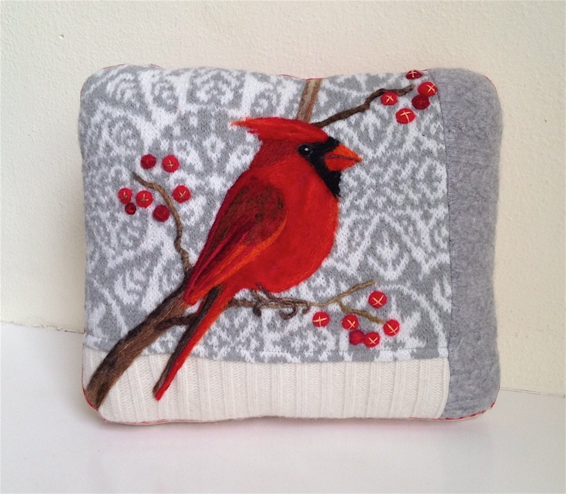Needle Felted Cardinal in a Snowy Land Pillow made from Recycled Sweater Fabric by Val's Art Studio - ValsArtStudio