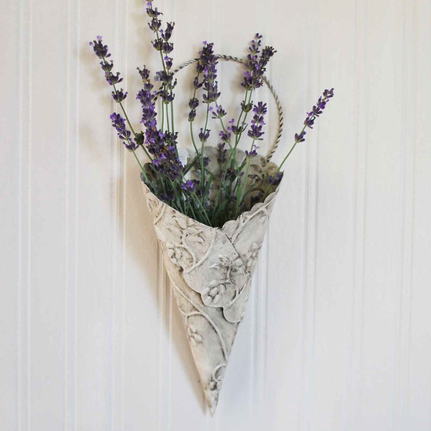 Items Similar To Flower Cone, Wall Vase, Antique White