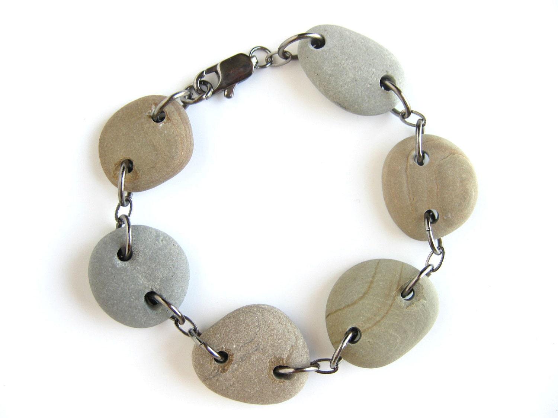Natural stone bracelet - Large Round Neutrals Stone Bracelet - 102
