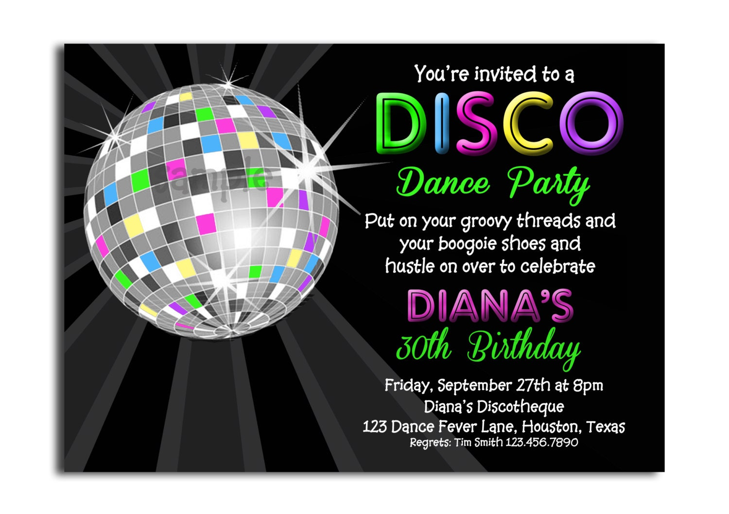 Disco Ball Neon Invitation Printable or Printed with FREE SHIPPING - Personalized for your Party ...