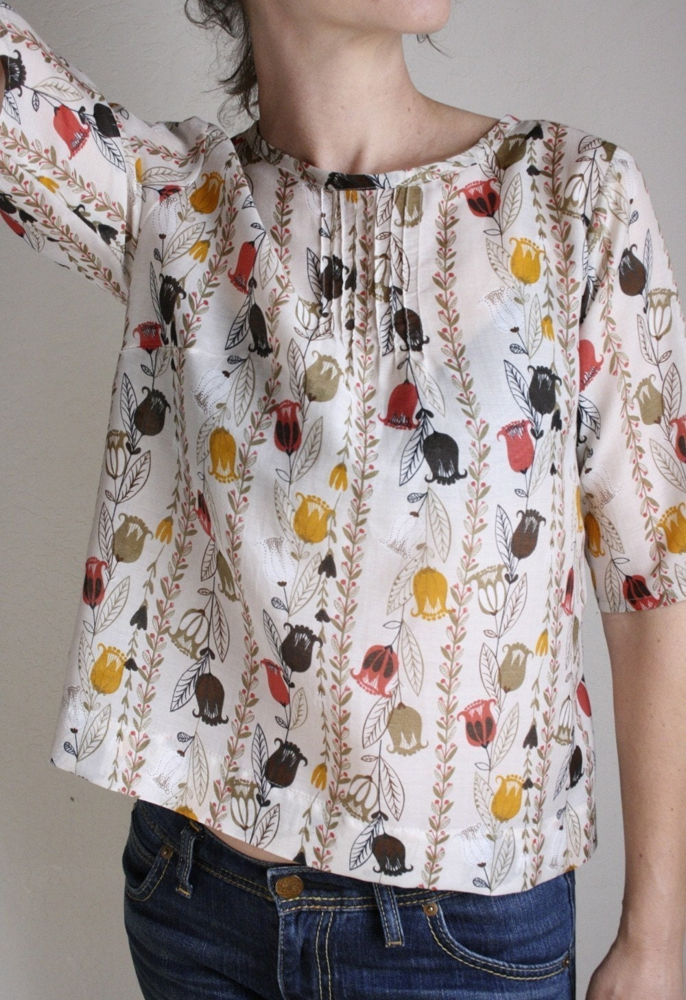 pin-tuck blouse -  posey print