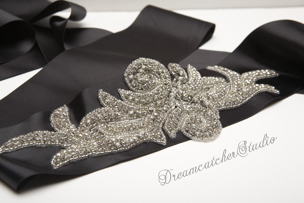 Sylvie Vintage Looking Swarovski Crystal, Black Satin Ribbon,Wedding Gown Belt, Sash, super Glam