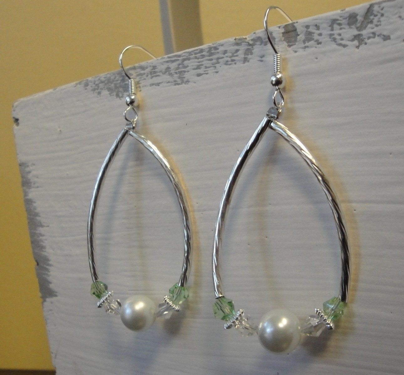 ON SALE Fancy Pearl Earrings with a touch of Green