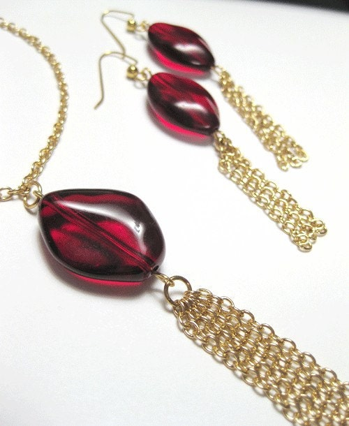 SALE Red Chains Necklace and Earrings Set