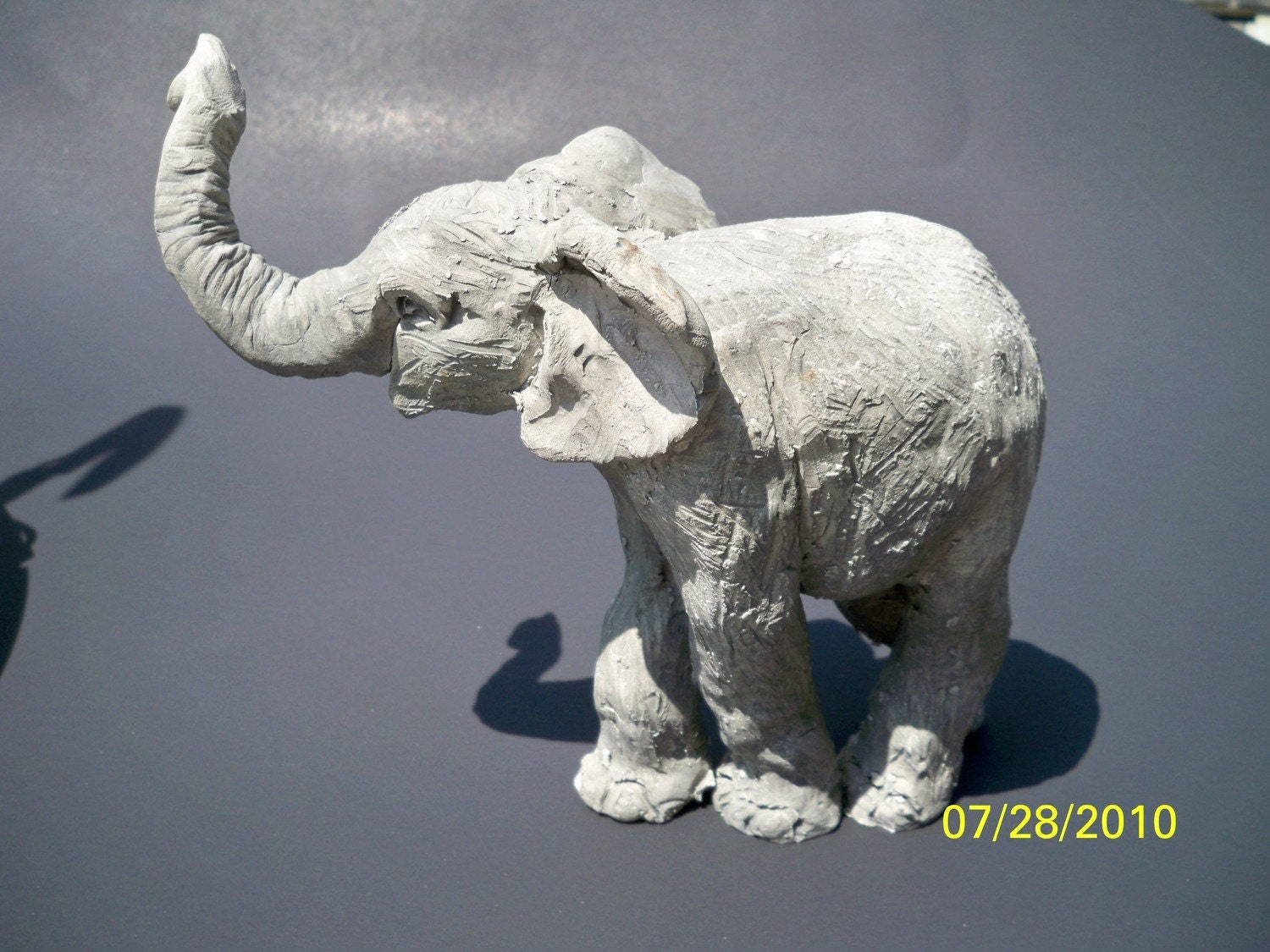 Clay Baby Elephant Sculpture // OOAK // Hand by InTheDay