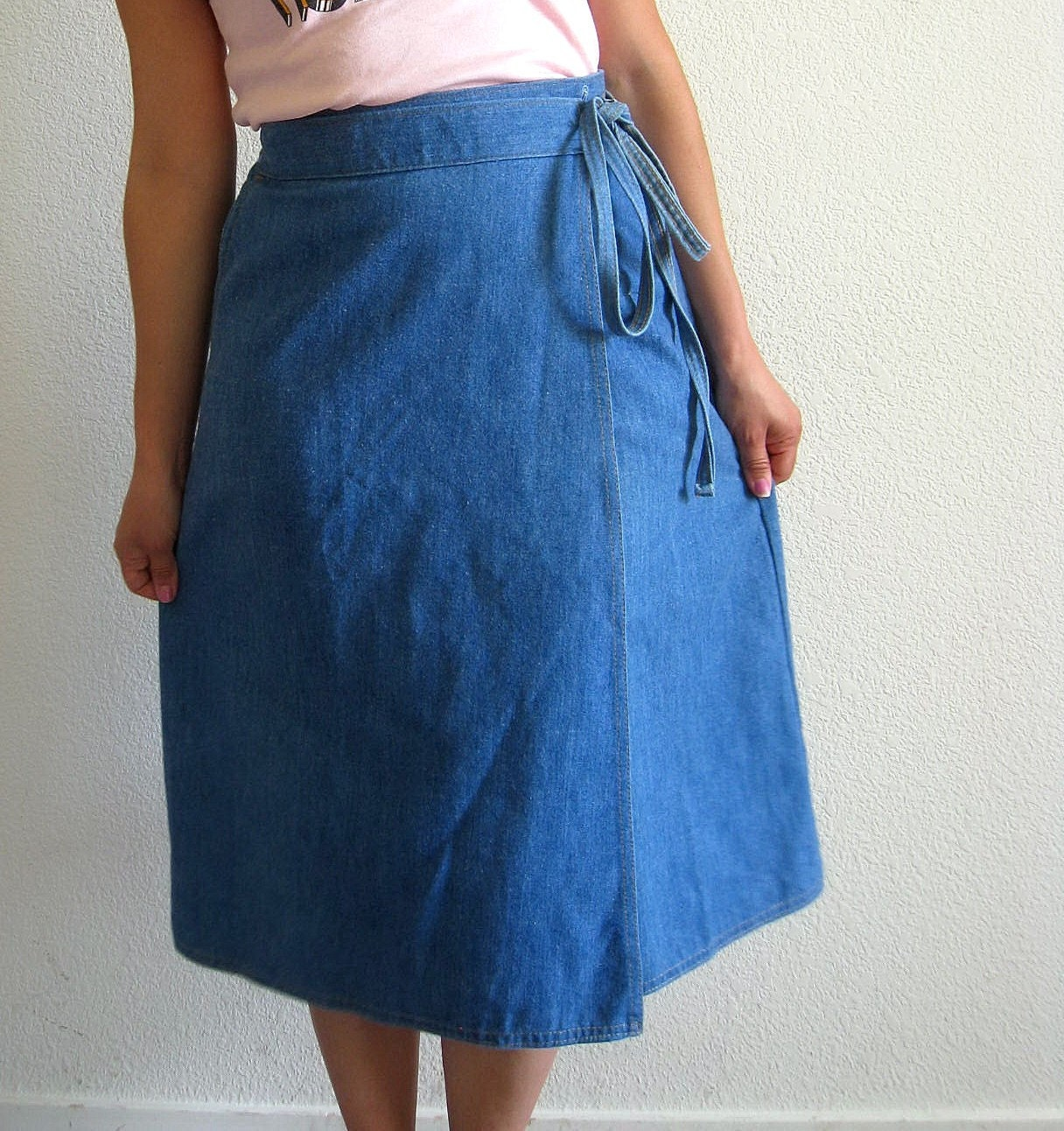 vintage 70s levis soft denim wrap skirt by lolavintage on etsy