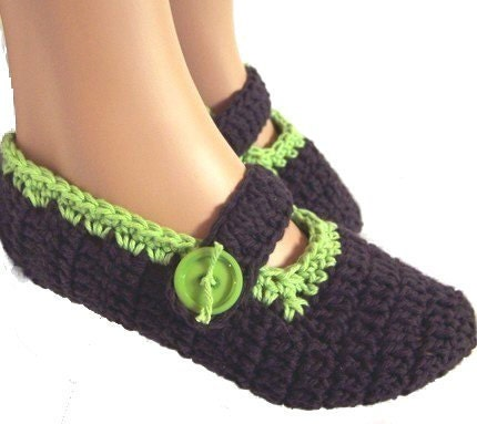 Crochet Mary Janes Slipper Socks Womens Made to Order Choice of Colors