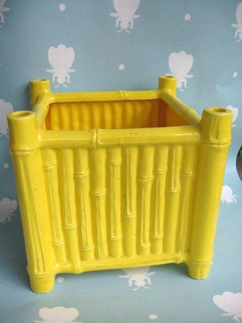 Vintage Yellow Bamboo Ceramic Square Container or Planter