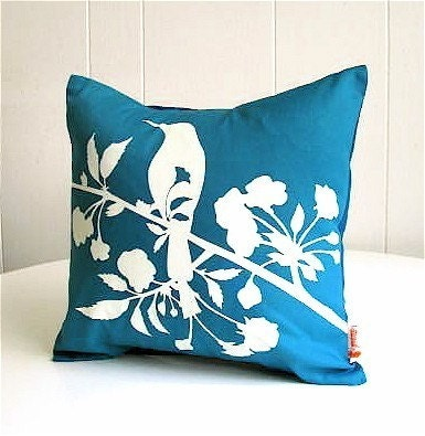Teal Blooming Blossom-Mini 10.5 Inches Square Pillow