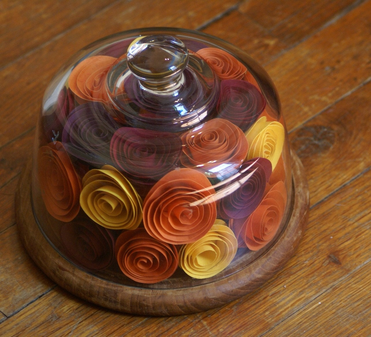 Ooak autumn centerpiece upcycled glass dome paper by