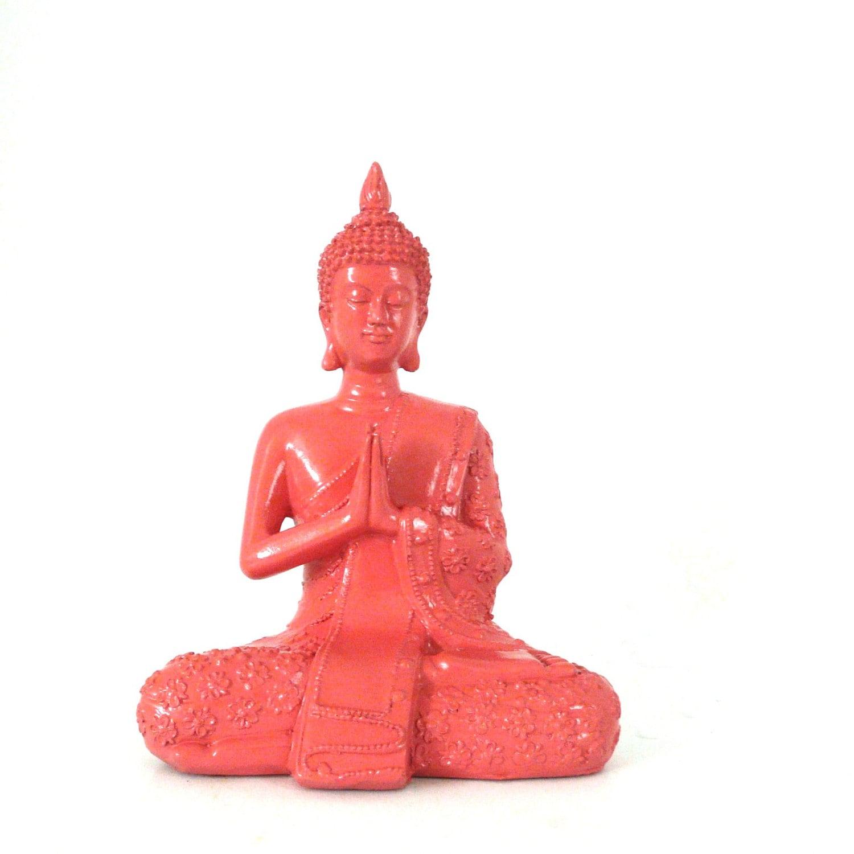 sitting buddha statue,  coral red, feng shui, zen, home decor,  buddha art, buddha statues - nashpop