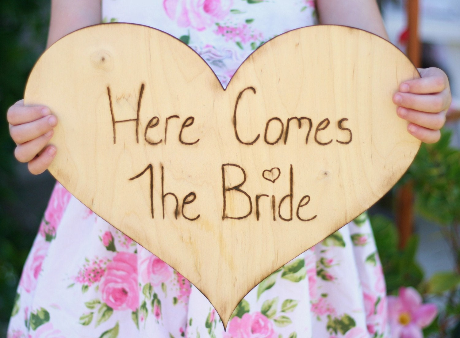 HUGE 12 inch Wood  Heart Here Comes The Bride Bouquet Wedding Sign For Flower Girl or Ring Bearer Rustic Engraved Woodland Outdoor Spring Summer Wedding Shabby Garden Vintage Chic