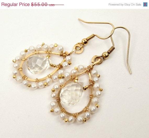SALE 50% off Gold Filled Hoop Earrings, Wire Wrapped Pearl Earrings, Lemon Quartz Dangle Earrings - DoolittleJewelry