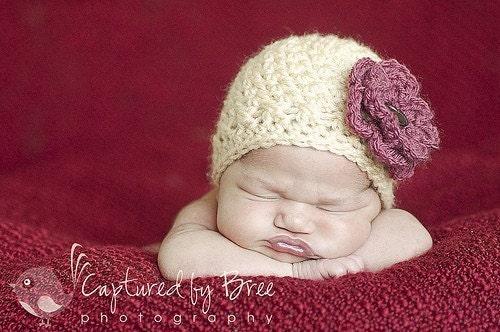 Детское крем вязания крючком шапочка со съемной Сельский Роуз