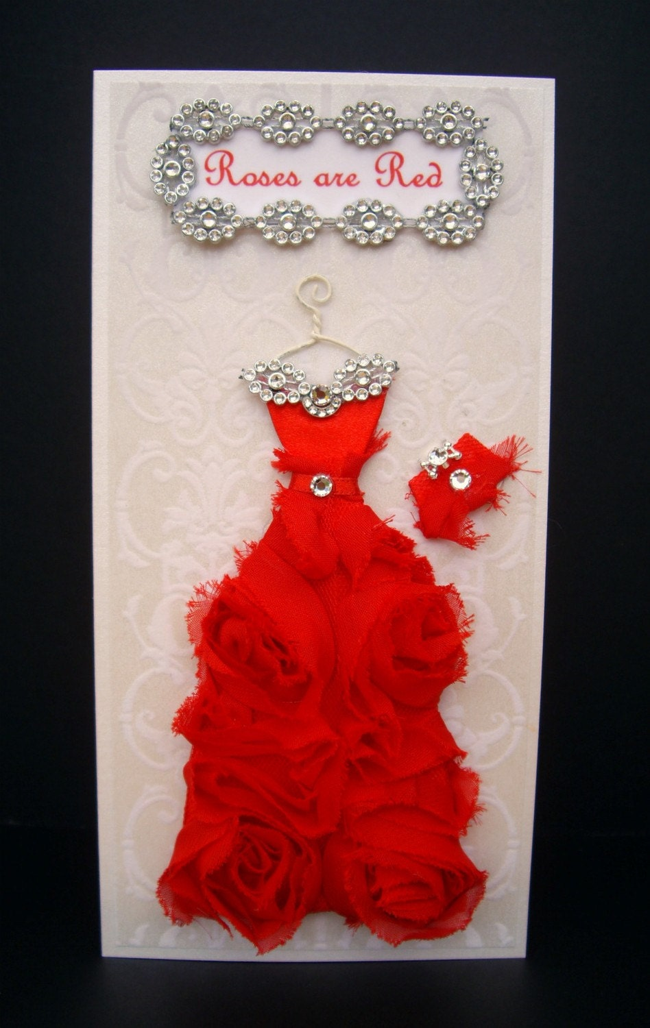 Valentine's Roses are Red Personalised Dress Card / Handmade Greeting Card