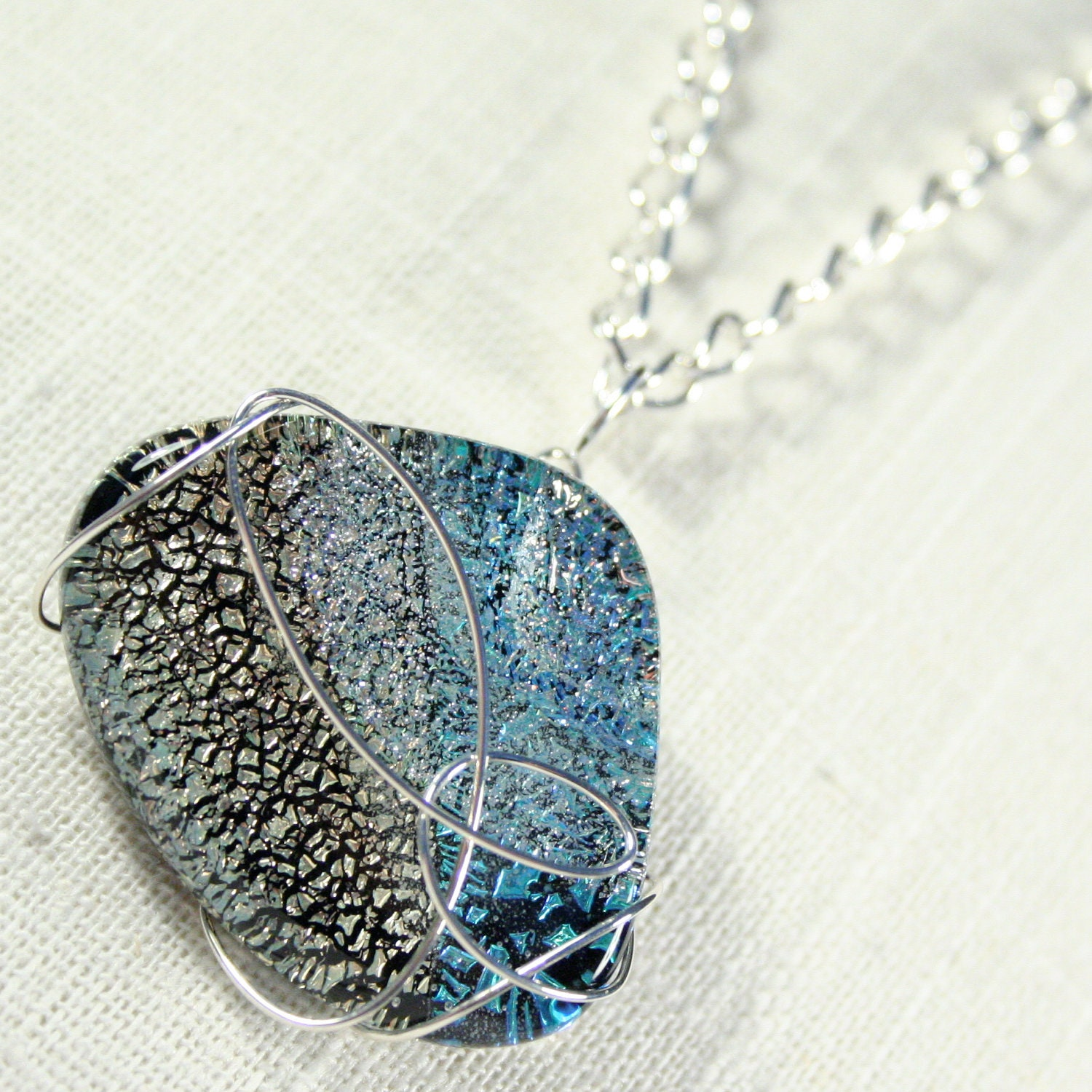 Necklace: Glass and wire, ocean inspired, dichroic glass necklace, wire-wrapped necklace