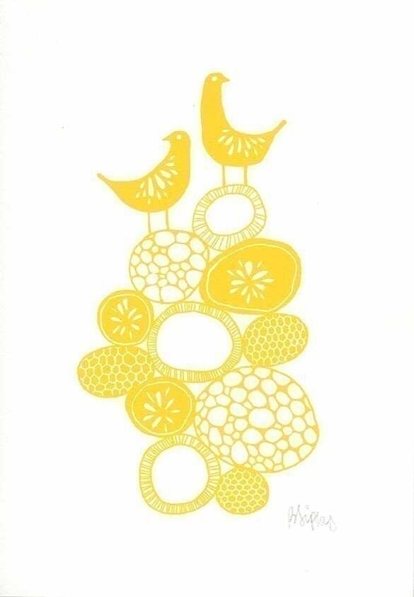 Lemon Yellow Citrus Birds - Signed <span class=