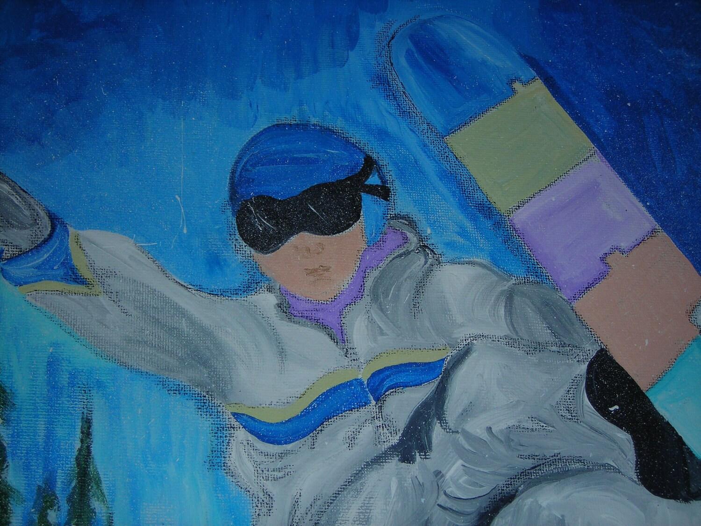 Boys Wall Art 20 x 16 Original Acrylic Children Painting kids wall art of Snowboarder