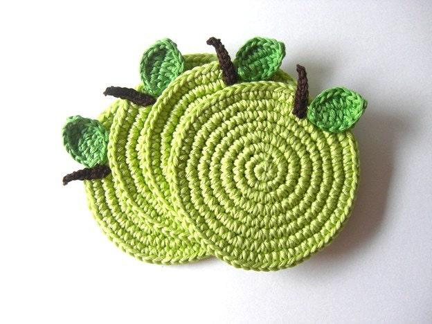 Green Light Apple Coasters . Beverage Drink Juice Pastel Leaves Vegan Decor Crochet Fruit Collection - Set of 4