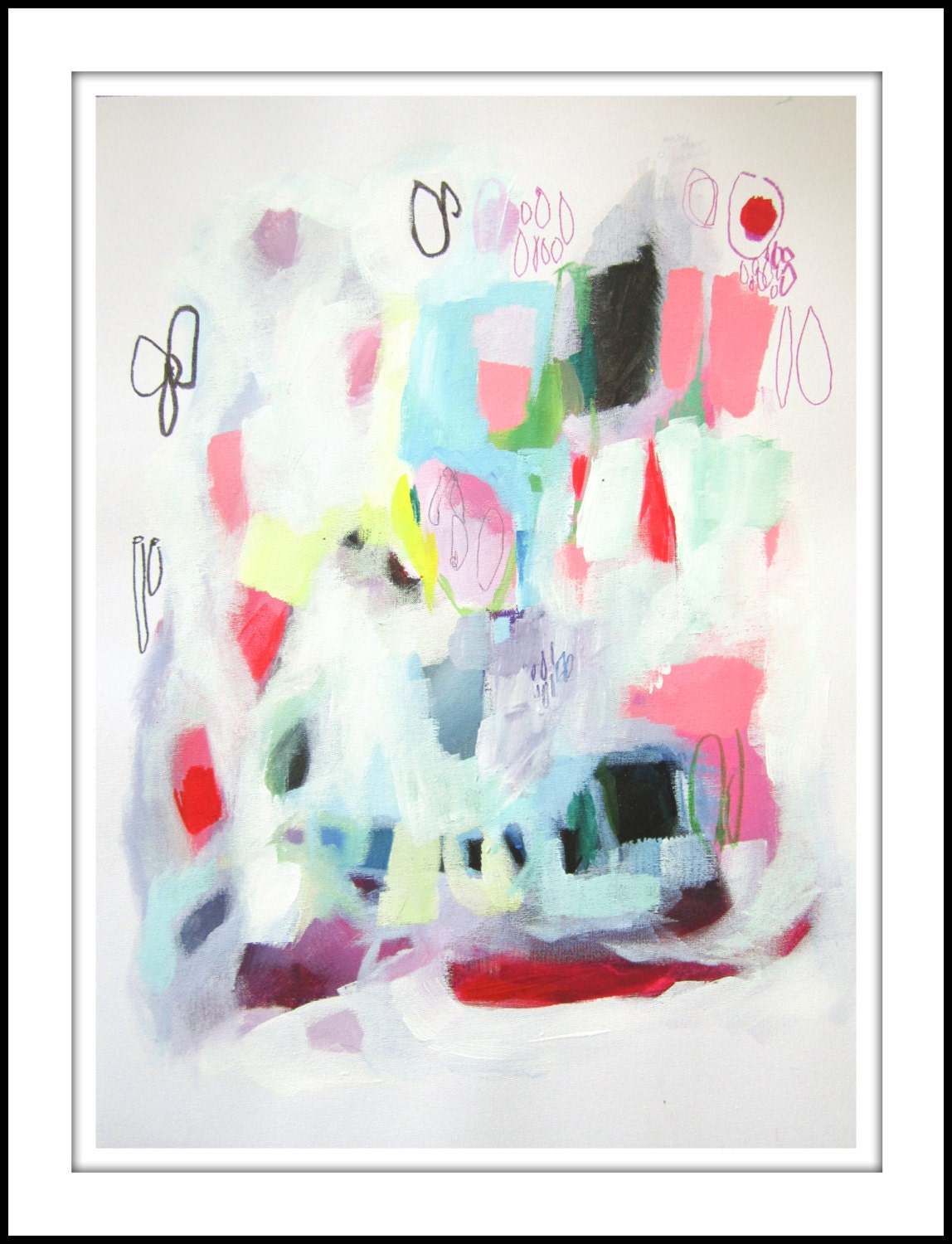 ABSTRACT painting, Giclee, Fine Art Print, white, blue, pink, red, modern painting, - LolaDonoghue