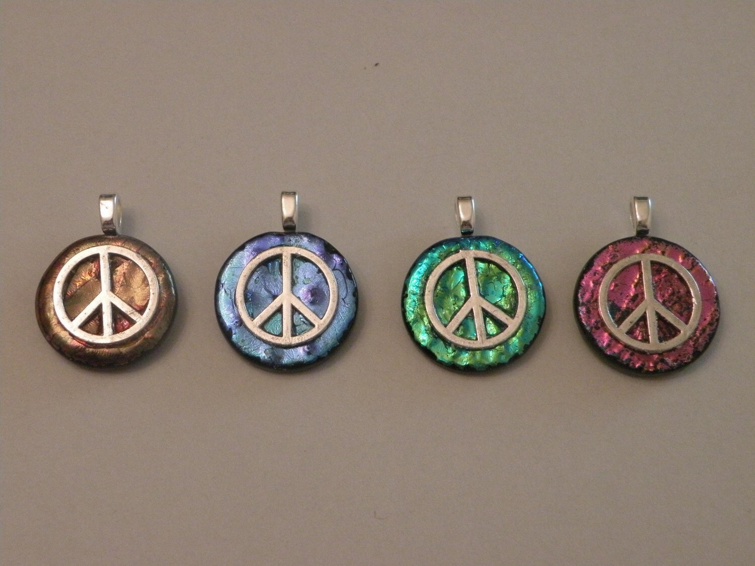 Peace Out Fused Glass Pendant