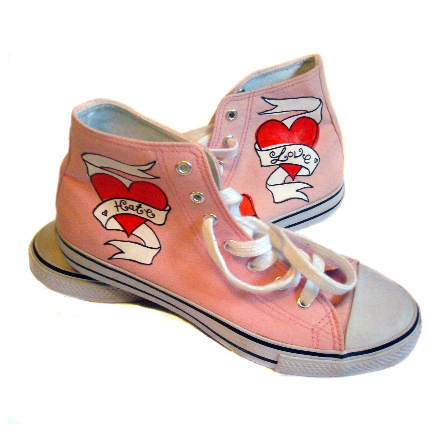 Miss Bunny Tattooed Canvas Boots. UK 7 / USA 9 / EU 40