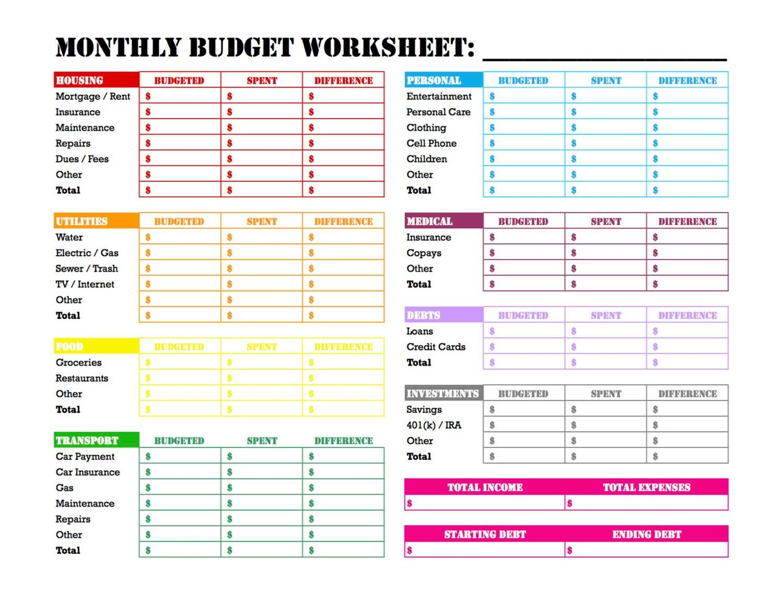Free weekly budget worksheet printable