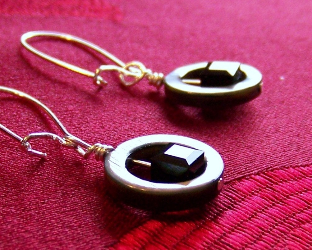 Circles and Squares Jet Black Earrings