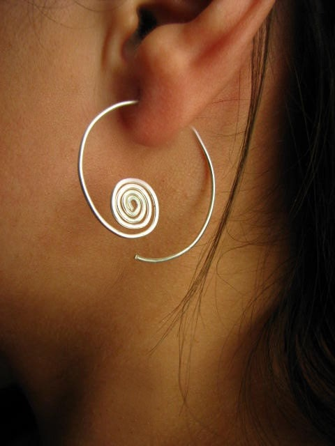 Sterling Silver Hoops with Hammered Coil